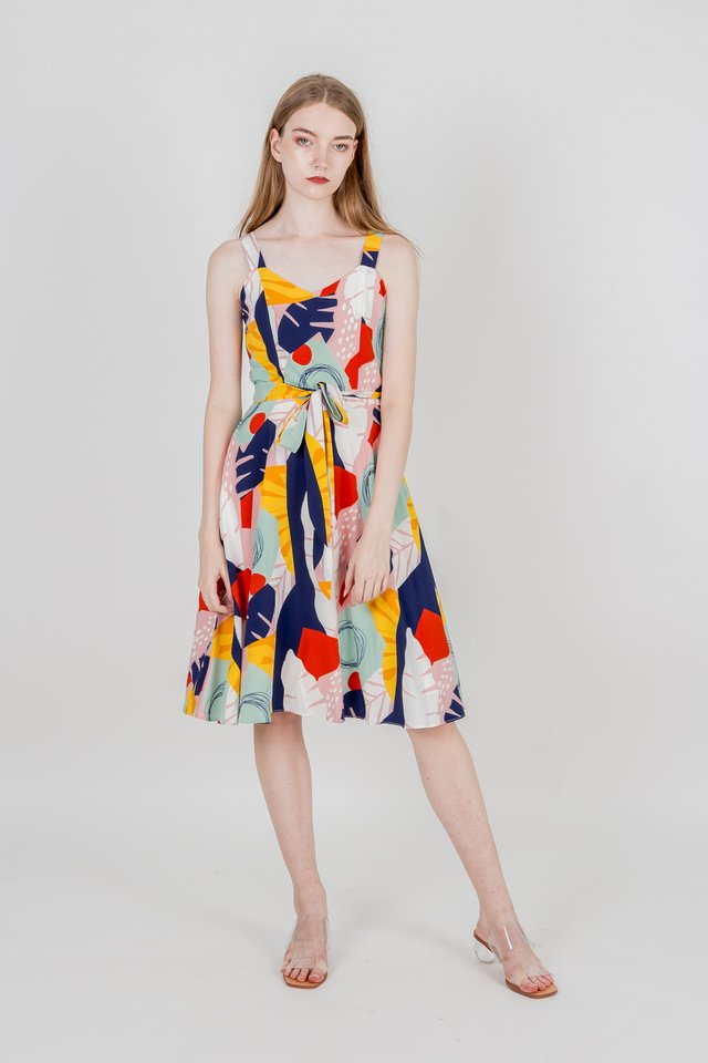MOANA ABSTRACT MIDI DRESS