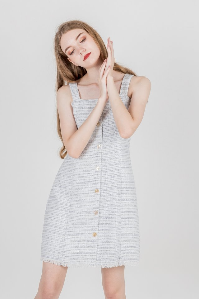 ERIKA TWEED BUTTON DRESS (LILAC)