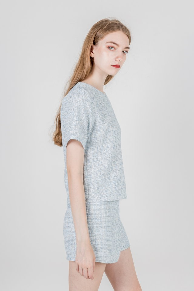 DANIA TWEED BOXY TOP (BLUE)