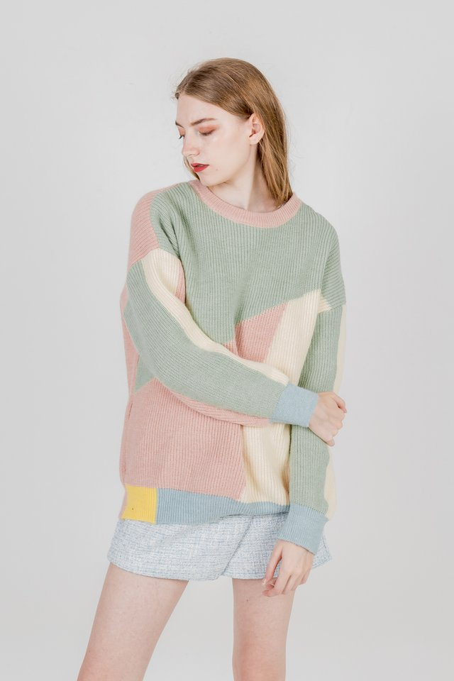 COLOURBLOCK KNIT PULLOVER (GREEN)