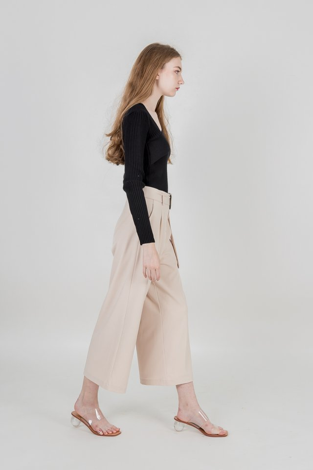 BROOKLYN BUCKLE BELTED PANTS (SAND)
