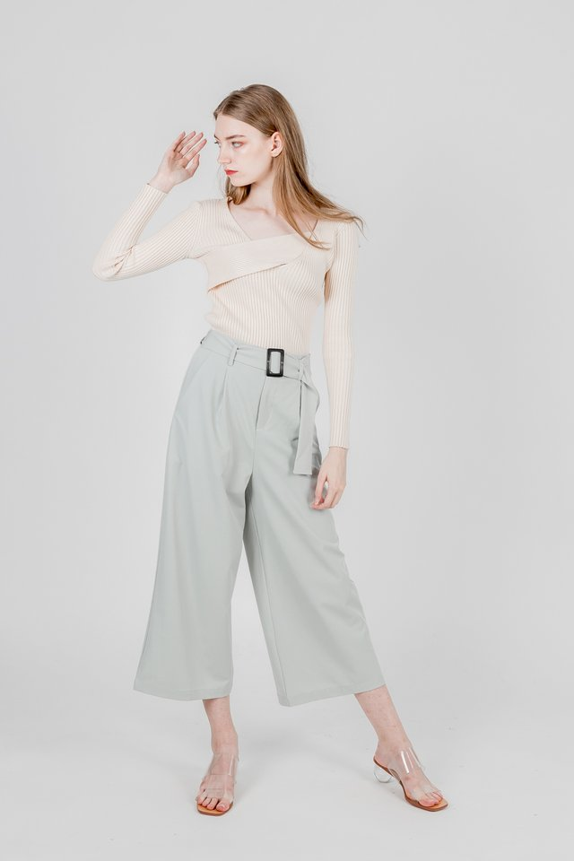 BROOKLYN BUCKLE BELTED PANTS (SAGE GREEN)