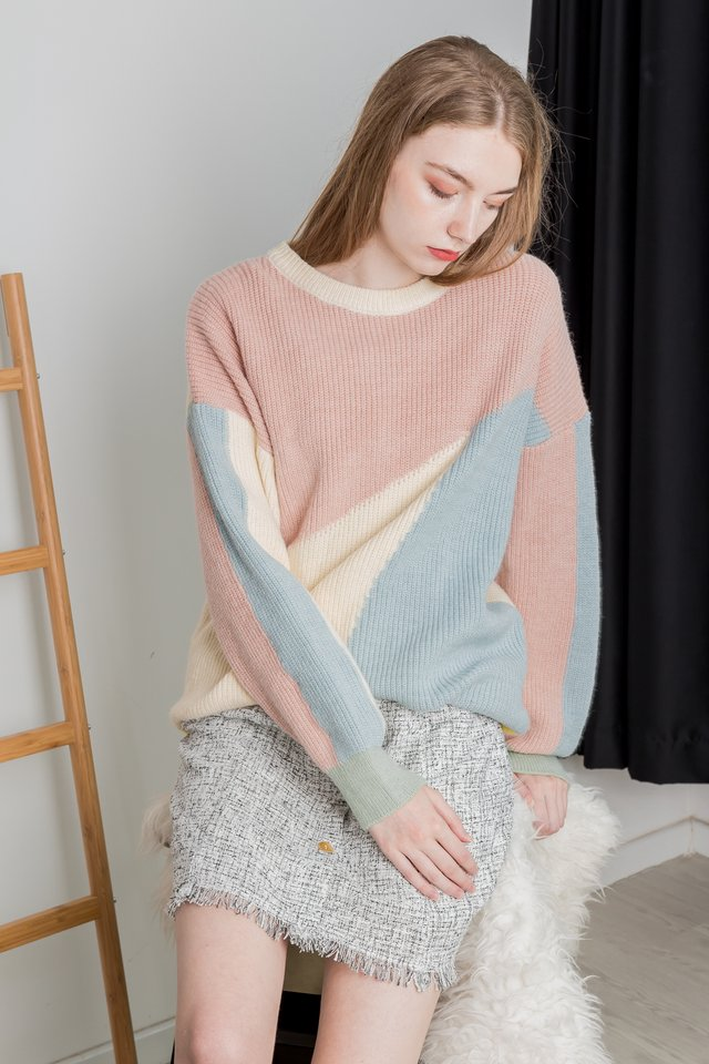COLOURBLOCK KNIT PULLOVER (PINK)