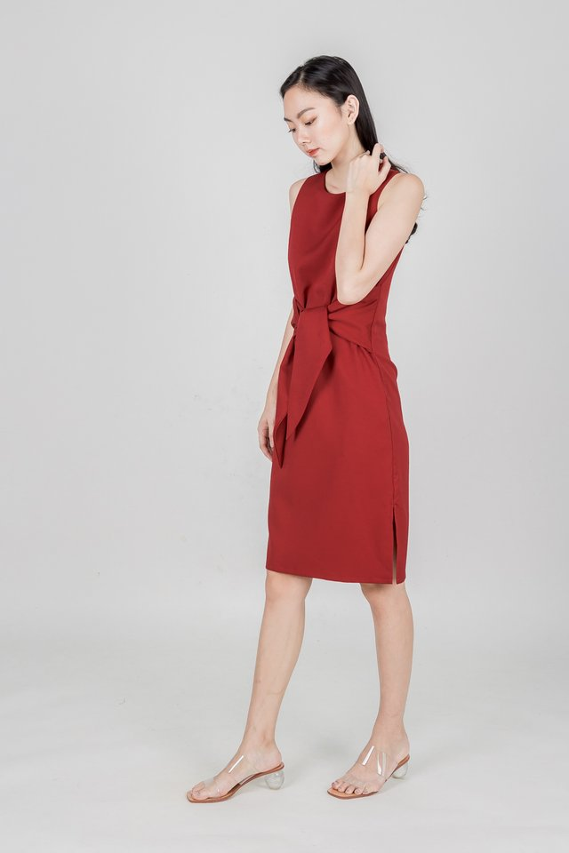 BELL TIED WAIST MIDI DRESS (RED)