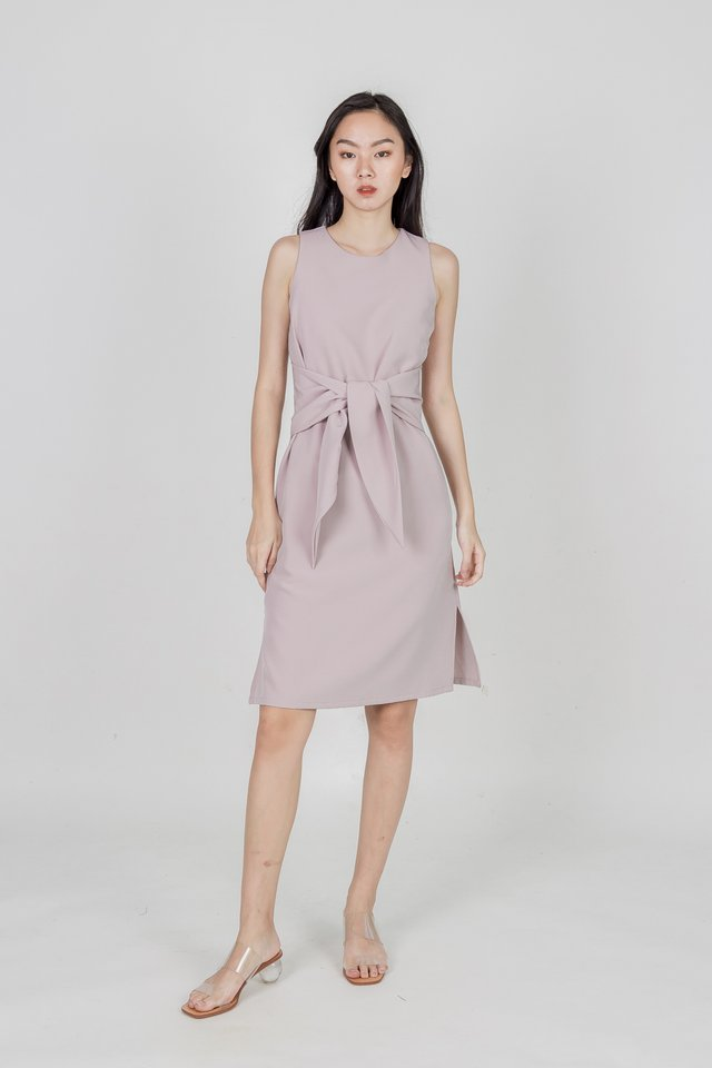 BELL TIED WAIST MIDI DRESS (BLUSH PINK)