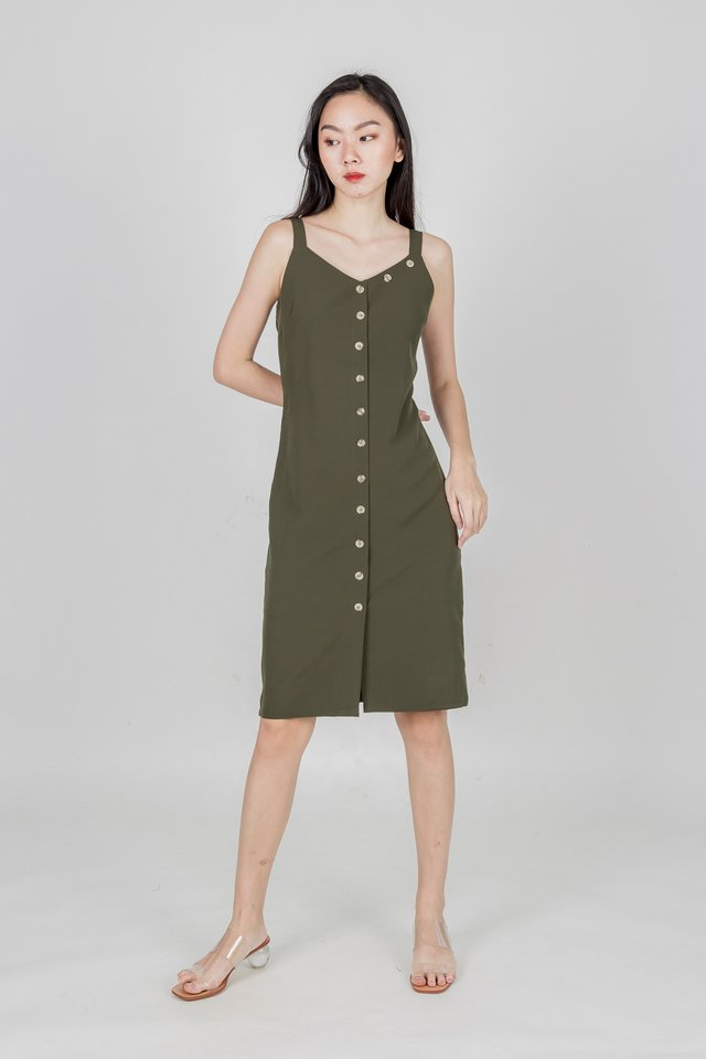 ARIE BUTTONED MIDI DRESS (OLIVE)