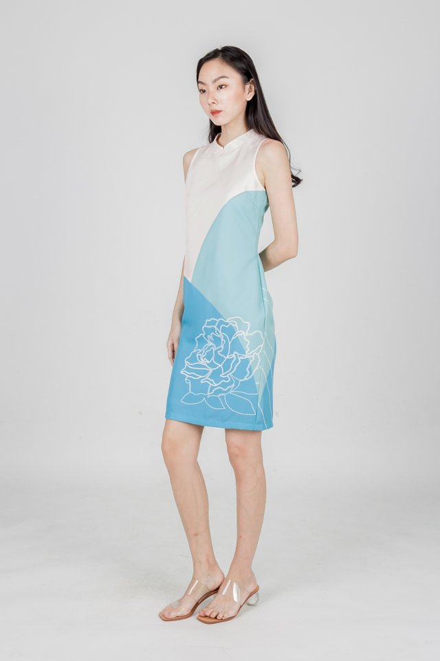 REUNION CHEONGSAM DRESS (BLUE)