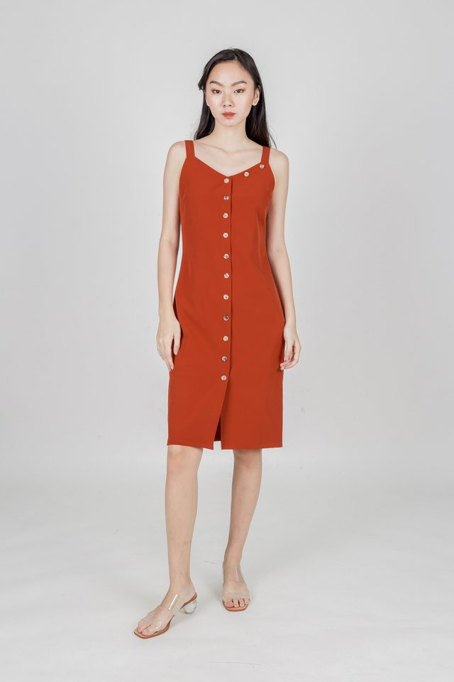 ARIE BUTTONED MIDI DRESS (VERMILION)