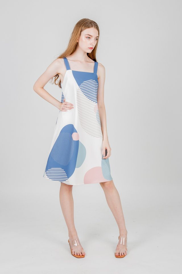 SUN AND MOON TRAPEZE DRESS (BLUE)