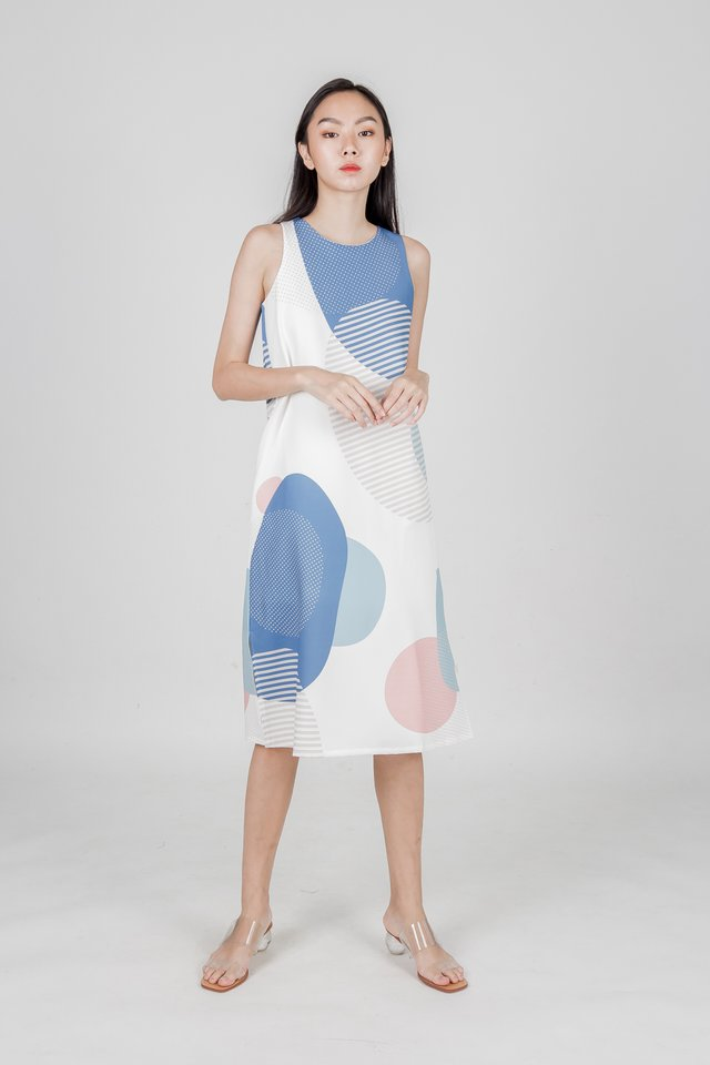 SUN AND MOON MIDI DRESS (BLUE)