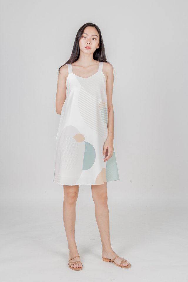 SUN AND MOON TRAPEZE DRESS (CREAM)