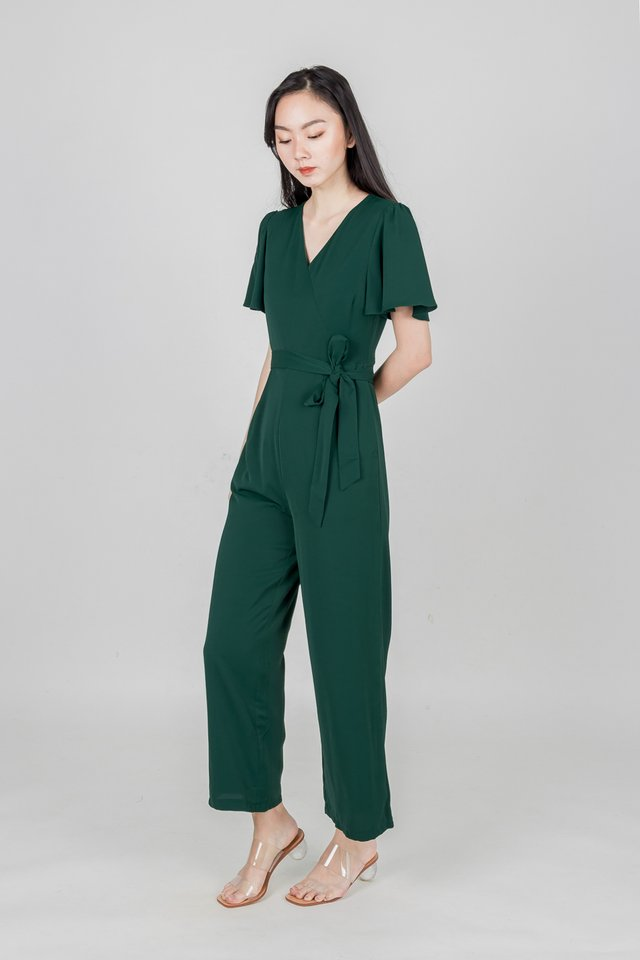 VALE FLUTTER SLEEVE JUMPSUIT (FOREST GREEN)