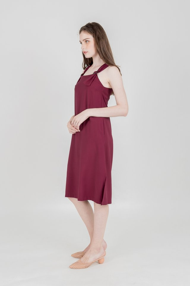 MELIA BUCKLE MIDI DRESS (MAROON)