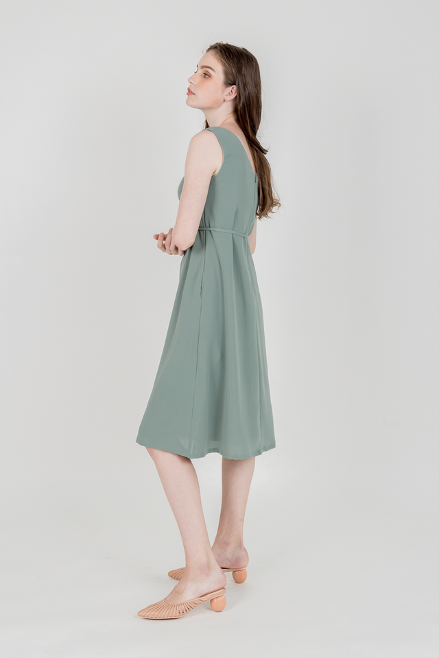 CHARIS BUTTONED MIDI DRESS (SAGE GREEN)