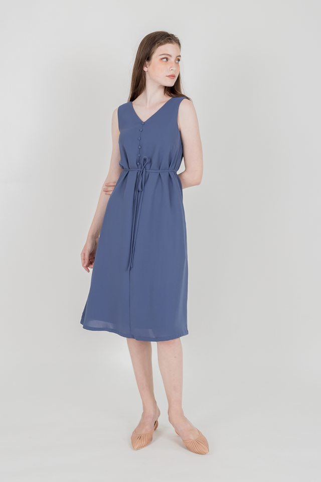 CHARIS BUTTONED MIDI DRESS (BLUE)