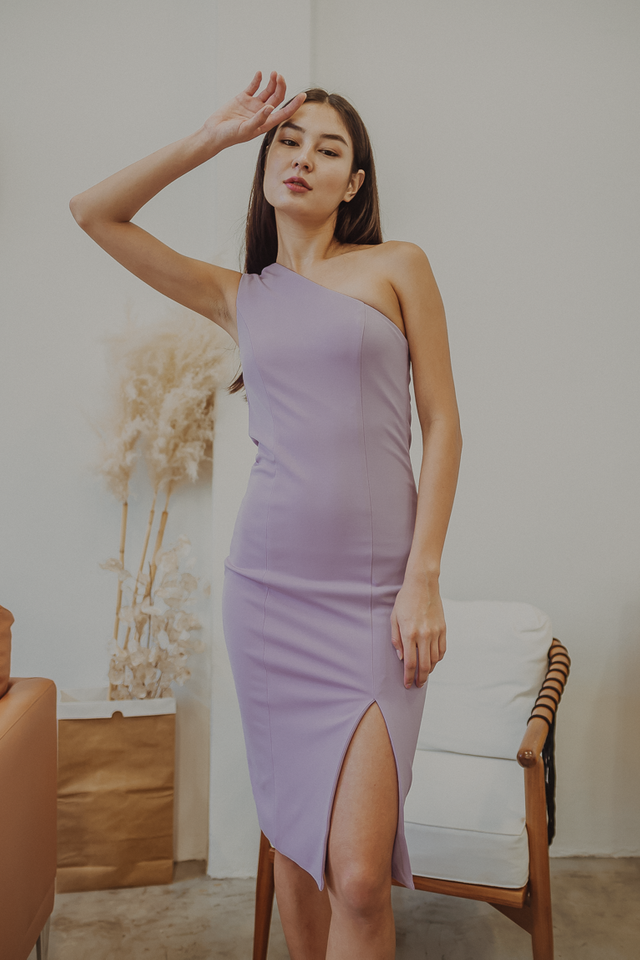 ALTHEA ONE SHOULDER BODYCON MIDI DRESS (LILAC)