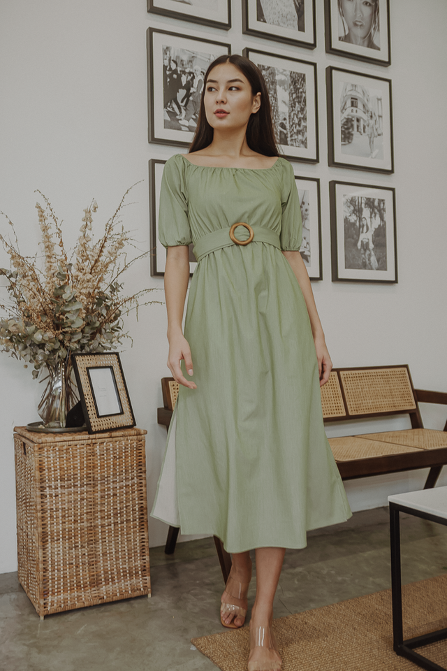 MODA OFF SHOULDER DRESS (PISTACHIO)