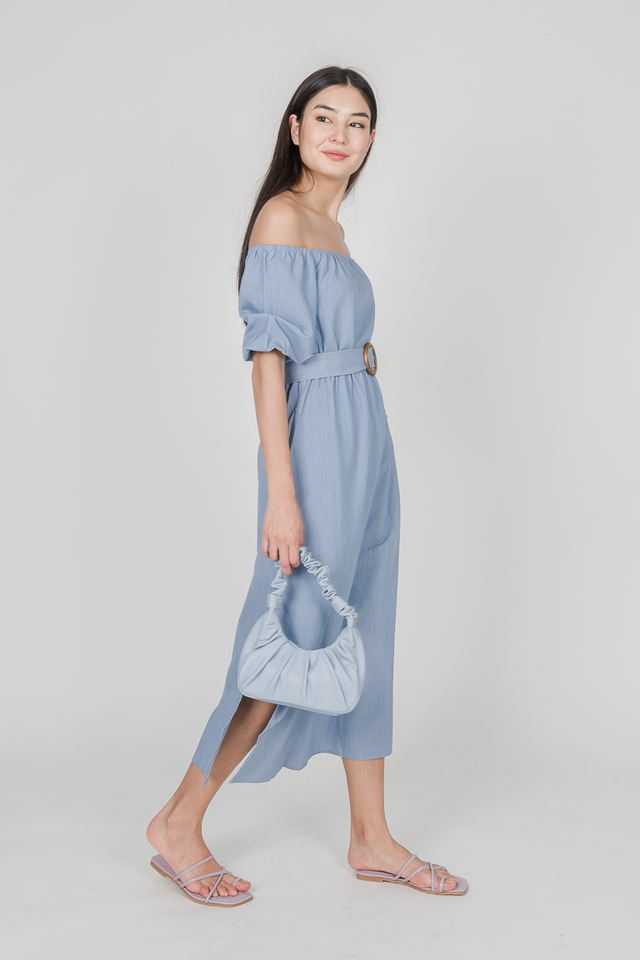 MODA OFF SHOULDER DRESS (BLUE)