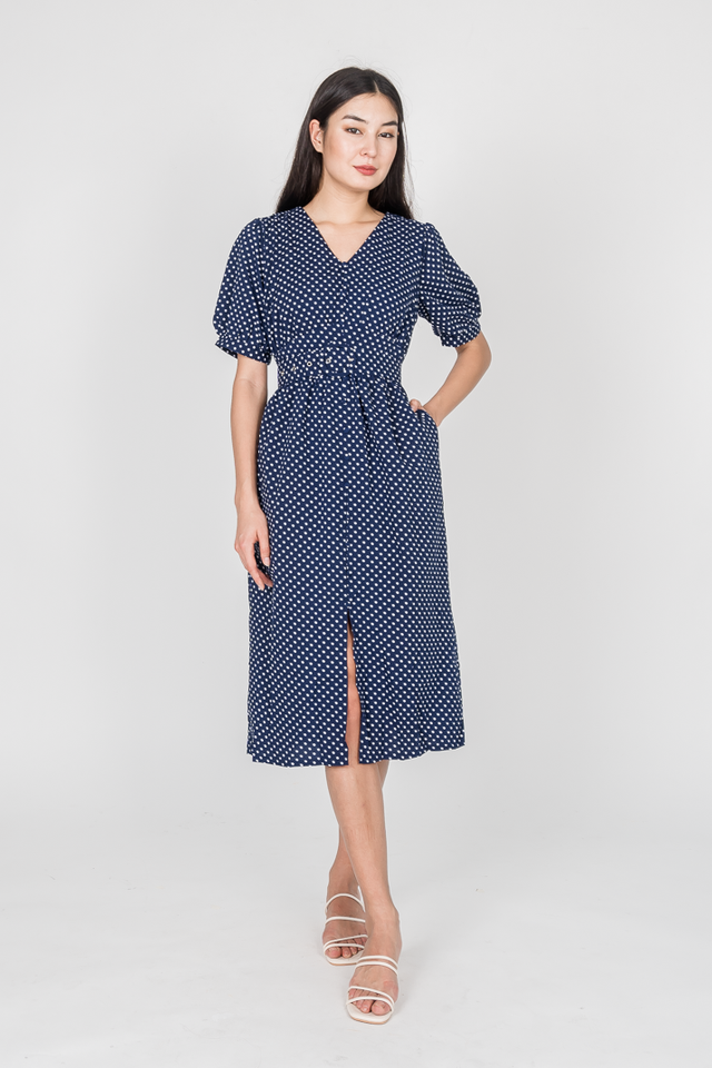 LIA POLKADOT MIDI DRESS (NAVY)