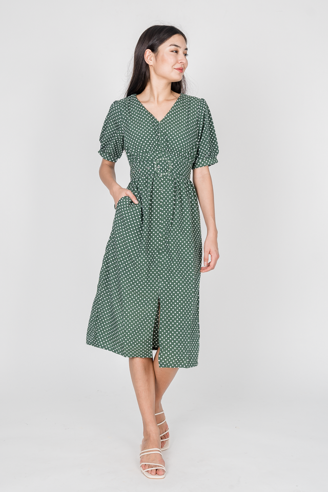 LIA POLKADOT MIDI DRESS (GREEN)