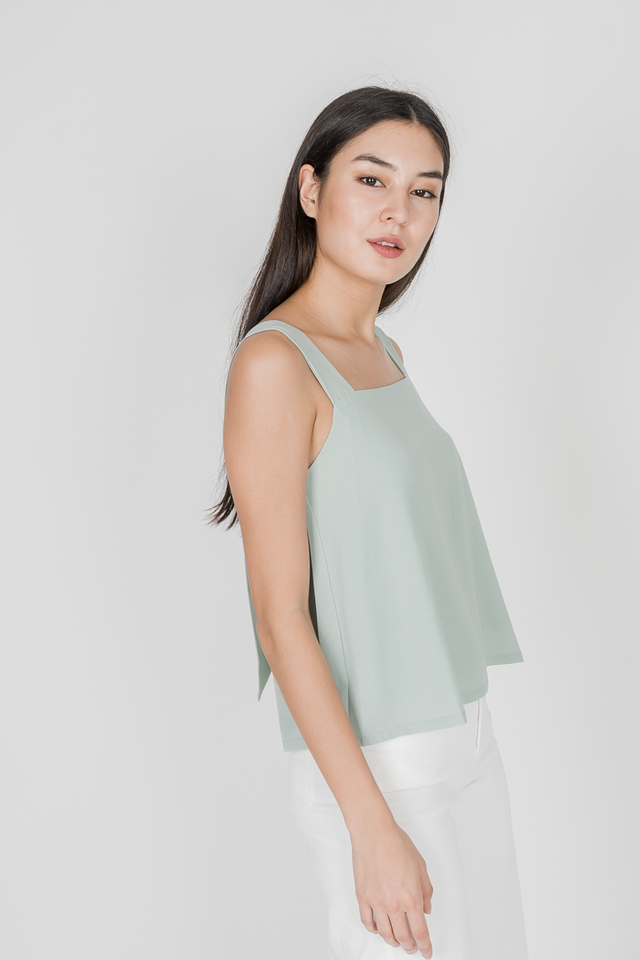 NATASHA KNOT BACK TOP (SAGE GREEN)