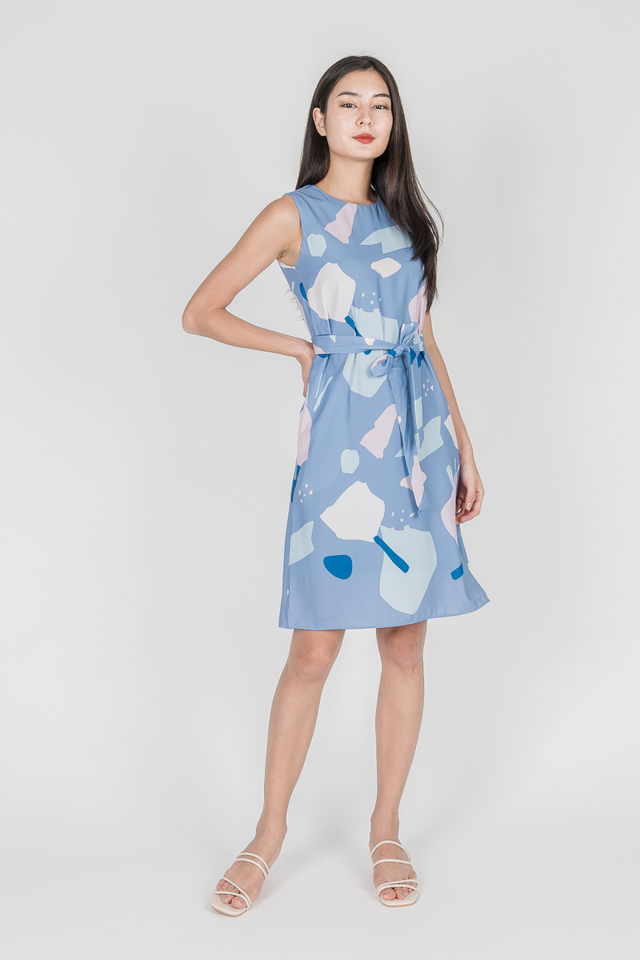 ABSTRACT SHIFT DRESS (BLUE)