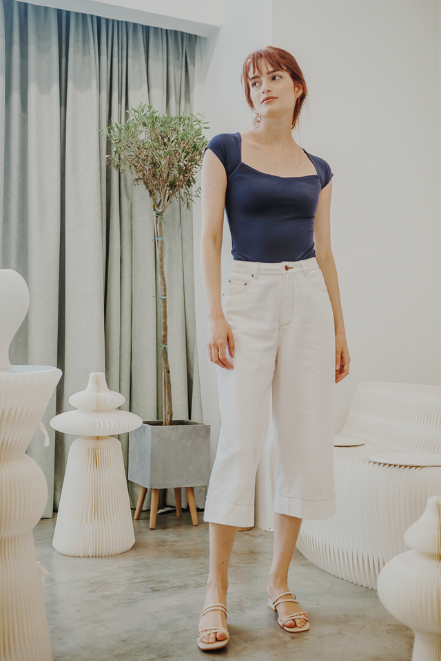 MYRA CONTRAST STITCH DENIM CULOTTES (WHITE)