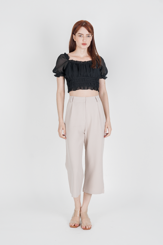 LEIA RUCHED TOP (BLACK)