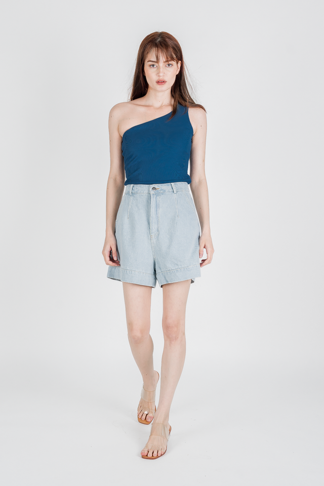 JODI RIB ONE SHOULDER TOP (MARINE BLUE)